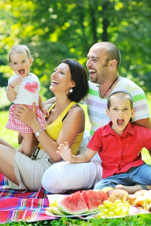 happy young couple with their children have fun at beautiful park outdoor in nature Stock Photo - 10415040