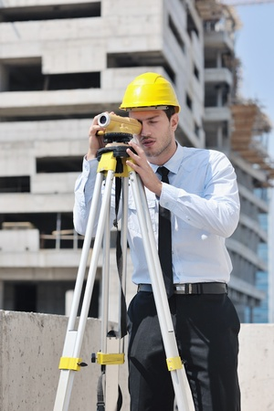 workplace safety: business man Architect engineer manager at construction site project Stock Photo