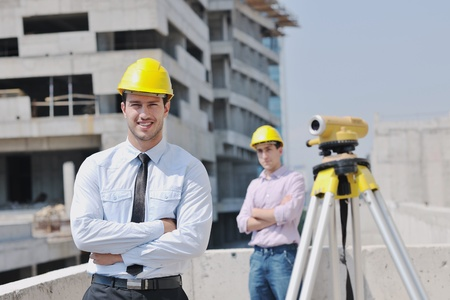 Team of architects people in group  on construciton site check documents and business workflow Stock Photo - 10540191