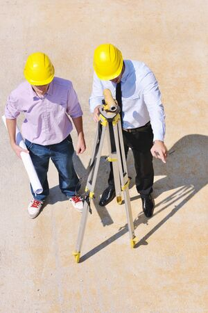 Team of architects people in group  on construciton site check documents and business workflow Stock Photo - 10515235