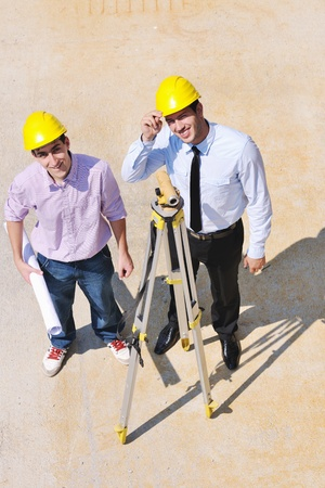 Team of architects people in group  on construciton site check documents and business workflow Stock Photo - 10540236