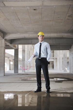 Construction Project business man Architect engineer manager at construction site photo