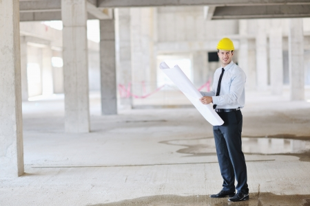 site manager: Construction Project business man Architect engineer manager at construction site