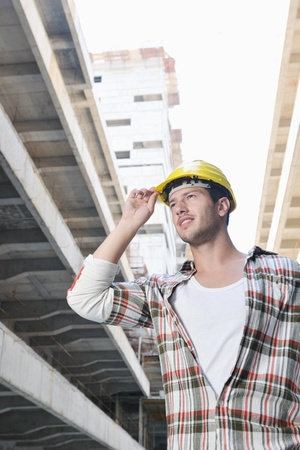 handsome hard worker people portrait at concstruction site Stock Photo - 10540877