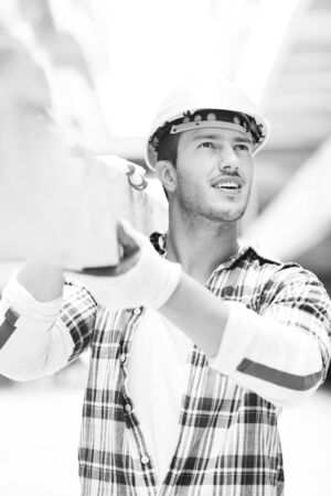 handsome hard worker people portrait at concstruction site Stock Photo - 10540806