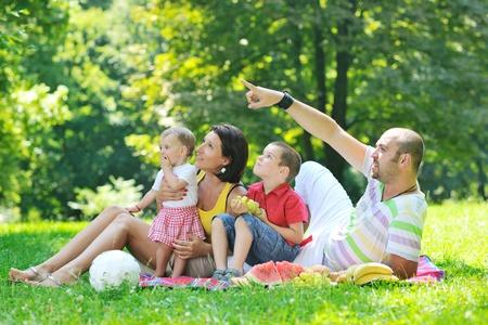 pique nique en famille: heureux jeune couple avec leurs enfants s'amuser � l'ext�rieur beau parc de nature