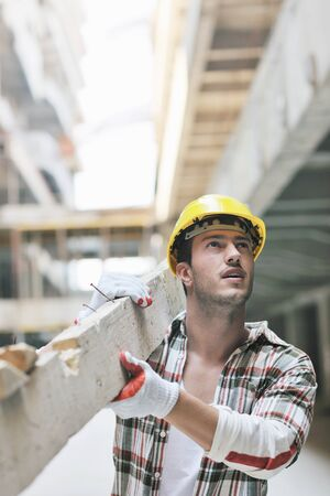 handsome hard worker people portrait at concstruction site Stock Photo - 10540826
