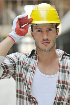 handsome hard worker people portrait at concstruction site Stock Photo - 10540948