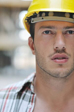 handsome hard worker people portrait at concstruction site Stock Photo - 10540918