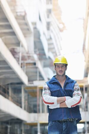 handsome hard worker people portrait at concstruction site Stock Photo - 10540790