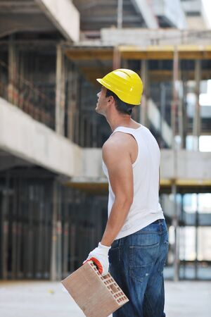 handsome hard worker people portrait at concstruction site Stock Photo - 10541046