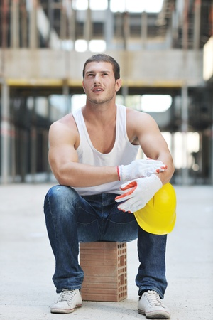 handsome hard worker people portrait at concstruction site Stock Photo - 10541000
