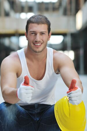 handsome hard worker people portrait at concstruction site Stock Photo - 10540950