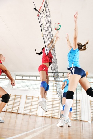 volleyball game sport with group of young beautiful  girls indoor in sport arena Stock Photo - 10650132