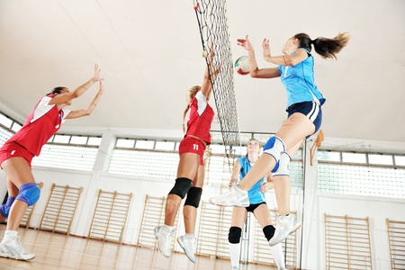 volleyball game sport with group of young beautiful  girls indoor in sport arena Stock Photo - 10650133