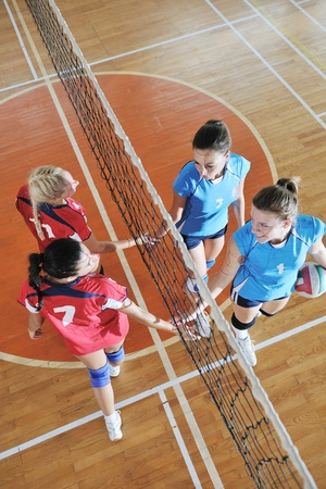 volleyball game sport with group of young beautiful  girls indoor in sport arena Stock Photo - 10650181