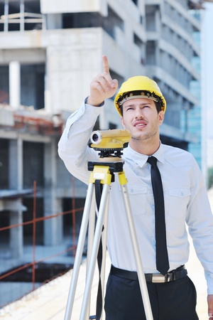 site manager: business man Architect engineer manager at construction site project Stock Photo