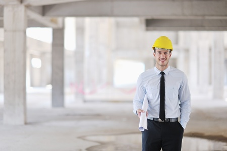 hat project: business man Architect engineer manager at construction site project Stock Photo