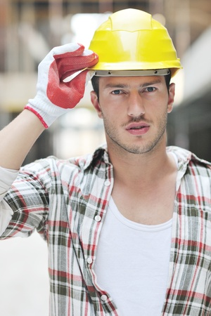 handsome hard worker people portrait at concstruction site Stock Photo - 10778278