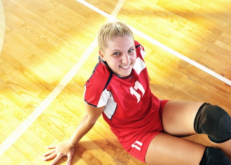 volleyball game sport with neautoful young girl oslated onver white background photo