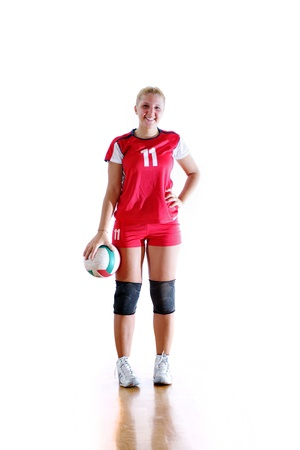 volleyball game sport with neautoful young girl oslated onver white background Stock Photo - 10778200