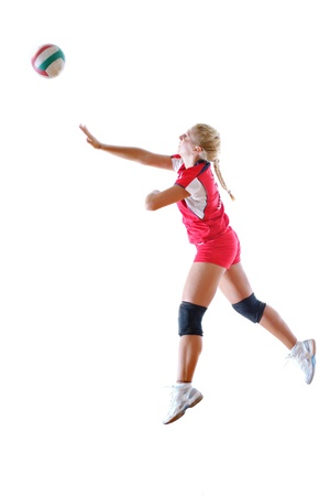 volleyball game sport with neautoful young girl oslated onver white background Stock Photo - 10778196