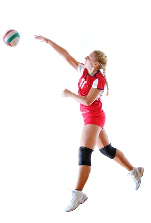 volleyball game sport with neautoful young girl oslated onver white background Stock Photo - 10778198