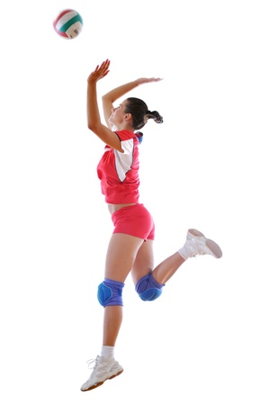 volleyball game sport with neautoful young girl oslated onver white background Stock Photo - 10778202