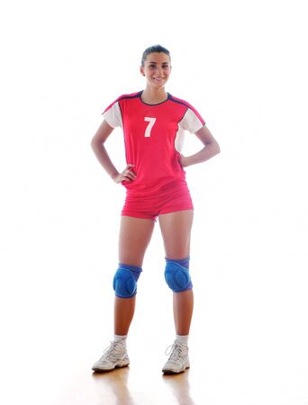 volleyball game sport with neautoful young girl oslated onver white background Stock Photo - 10778199