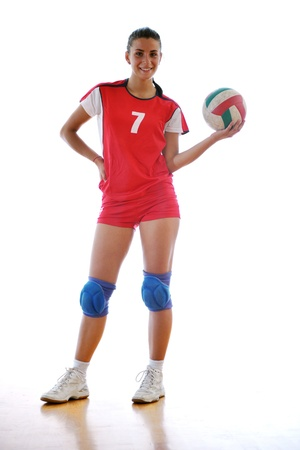 volleyball game sport with neautoful young girl oslated onver white background Stock Photo - 10778209