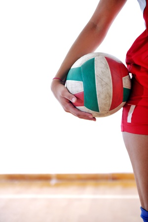 volleyball game sport with neautoful young girl oslated onver white background Stock Photo - 10746184