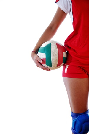 volleyball game sport with neautoful young girl oslated onver white background Stock Photo - 10746176