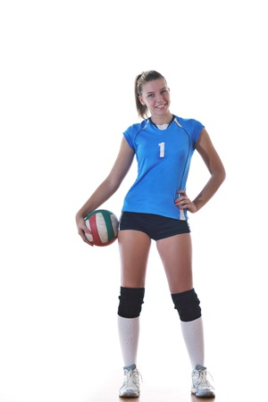 volleyball game sport with neautoful young girl oslated onver white background Stock Photo - 10778213