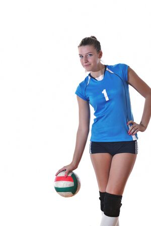 volleyball game sport with neautoful young girl oslated onver white background Stock Photo - 10778228