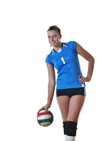 volleyball game sport with neautoful young girl oslated onver white background Stock Photo - 10778224