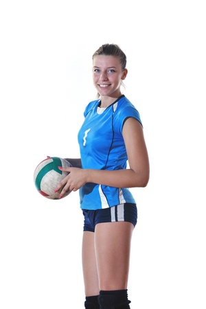 volleyball game sport with neautoful young girl oslated onver white background Stock Photo - 10778226