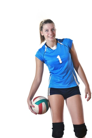 volley ball: volleyball game sport with neautoful young girl oslated onver white background