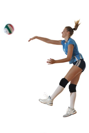 serve: volleyball game sport with neautoful young girl oslated onver white background