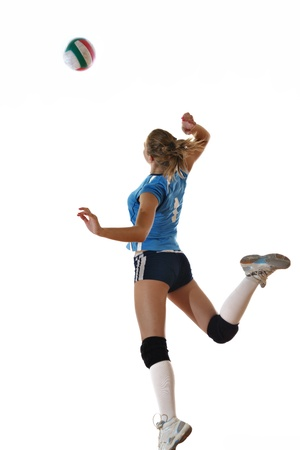 serve one person: volleyball game sport with neautoful young girl oslated onver white background