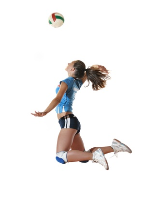 volleyball team: volleyball game sport with neautoful young girl oslated onver white background