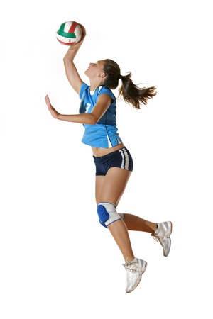 volleyball serve: volleyball game sport with neautoful young girl oslated onver white background