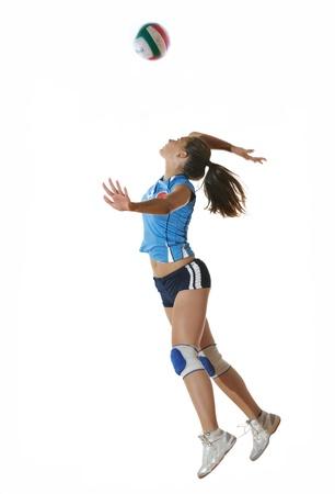le sport match de volley avec jeune fille neautoful oslated onver fond blanc
