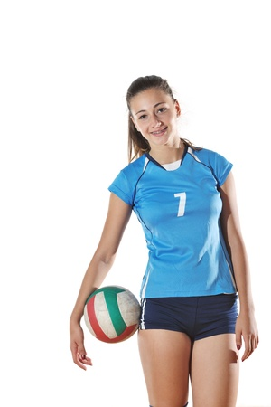 girl action: volleyball game sport with neautoful young girl oslated onver white background