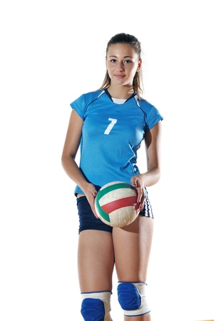 athletic girl: volleyball game sport with neautoful young girl oslated onver white background