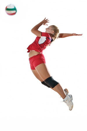atleta: volleyball game sport with neautoful young girl oslated onver white background