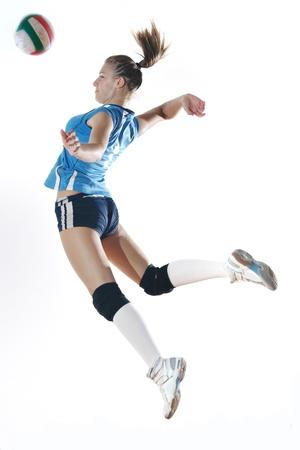 волейбол: волейбол игры спорта с neautoful молодая девушка oslated onver белом фоне