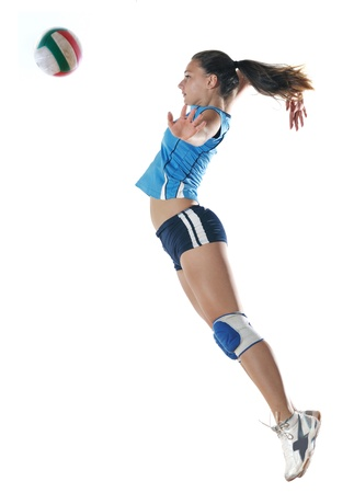 volleyball game sport with neautoful young girl oslated onver white background Stock Photo - 10767556