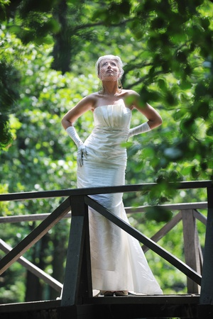 beautiful bride woman people in fashion wedding dress posing\ outdoor in bright park at morning