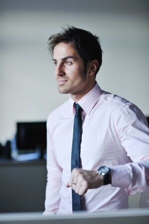 formal clothes: portrait of one young business man at bright office indoor Stock Photo