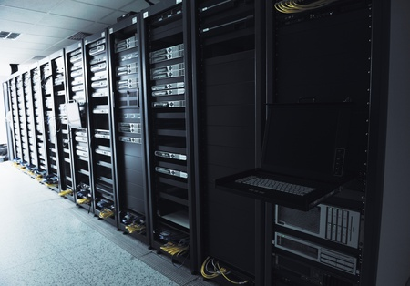 network server room with computers for digital tv ip communications and internet Stock Photo - 11021922